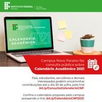 Campus Novo Paraíso faz consulta pública sobre Calendário Acadêmico 2021